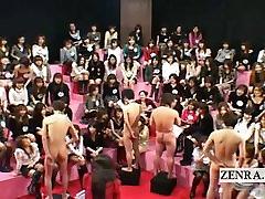 Subtitled cumshot themed massive Japanese CFNM party