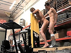 Two sexy twinks fucking on the job