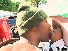 Black thug paid to give blowjob to a big cock