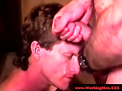 Mature straight bear gets facial and bj