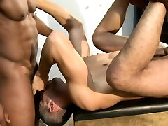 Two black muscled marines ass fuck white guy