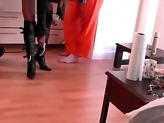 Kinky Leather Clad Femdoms Have Boots Licked By Slave