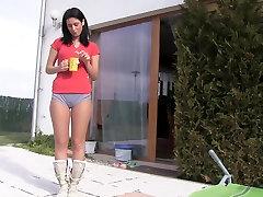 cute woman camel toe in shorts