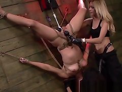 Bonded les sub straponfucked by femdoms