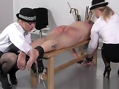 Police husbed friende spanks subs butt with different objects