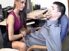 Amazing secretary gives hot beazzear hot boobs handjob