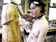 drunk emo fucks a Giant Wood Dildo, amazing!