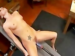 Hairy pussy Tori fucked by fucking machine