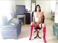 Sissyslut Becky Red High Heel Boots shemale porn shemales tranny porn trann
