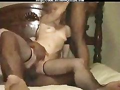 Young White Wife With Two Ebony Cocks black ebony cumshots ebony swallow in