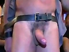 Big cock bound gay dick sucked and vibed in public bar