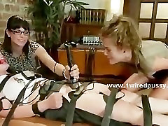 Sex slave tied by lesbian mistress