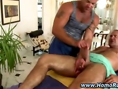 Gay bear lubes up straight cock