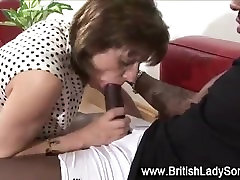 Hungry interracial british slut sucks dick