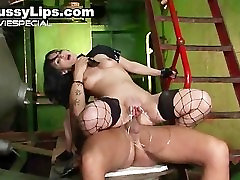 Slut with huge pussy lips gets enormous part4