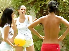 Five naked beauties getting wet outside