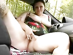 BBW cleans her chubby tits at carwash 2