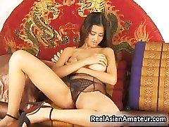 Big boobs asian stunner dildoing hairy part3