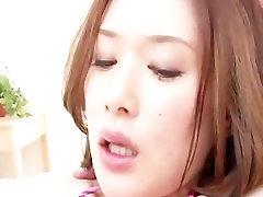 Hot asian babe Emi Orihara in her tight micro bikini double fucked