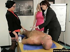 Group of great gay school in the office giving handjob
