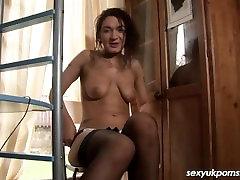 UK brunette solo masturbation in the office in stockings