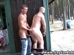 Risky amateur hunks enjoy blowjob
