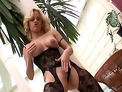 Big boobed blonde milf fucking in a bodystocking and black panties