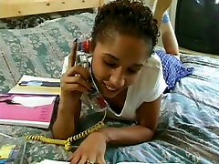Ebony teen makes love to a burglar