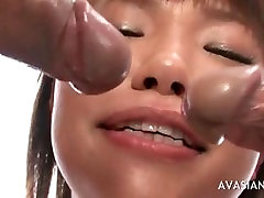 Horny asian takes part in hot orgy session