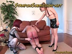 Strapon strap on of male slave by dominatrix femdom