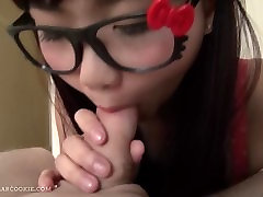 cute busty teen blowjob in tiger ears and CIM