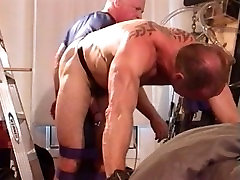 Ball Bashing and Big Black Butt Plug in muscle hunks butt hole.