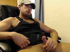 Hairy Muscle Cub Jerks Off & Cums