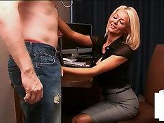 Office huge ass anal masturbation humiliates small dick while giving handjob
