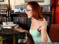 Classy mature lady masturbates in panties and pantyhose