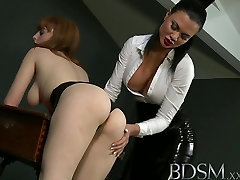 BDSM XXX Tiny red head sub has her tight little body explored by Mistress