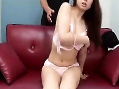 Stacked Japanese milf drops her panties and reveals her hai