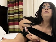 Alt lingerie trap solo masturbation session