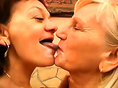 Two lusty mature women fight over this young dudes sticky jizz