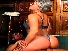 Horny mature woman moves her panties to the side and gets nailed deep