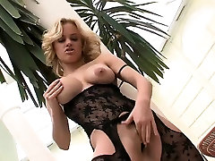 Horny blonde sits on his massive rod