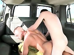 Naked studs having hardcore gay anal sex on the bus floor