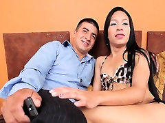 Tgirl cummed and got cum on her cock