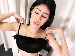 Perky titted ladyboy jerks and drops jizz
