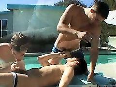Teen gay porn boys movies Pool Four-Way!