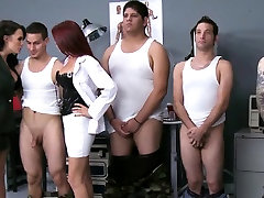 Busty femdoms jerking sucking and fucking
