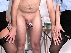 Uniformed femdoms mistreat boot fetish sub