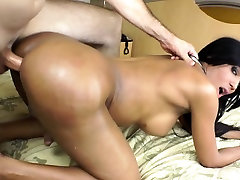 Ebony shemale amateur getting white cock