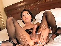 Ladyboy hottie sucks a white cock and gets her ass ripped