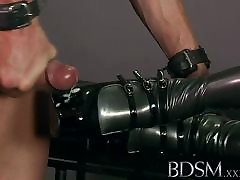 BDSM XXX Slave boy licks his cum from his Doms shoe